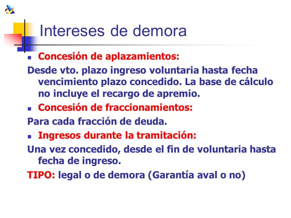 Intereses de demora Concesión de aplazamientos: Desde vto. plazo ingreso voluntaria hasta fecha vencimiento plazo concedido. La base de cálculo no inc