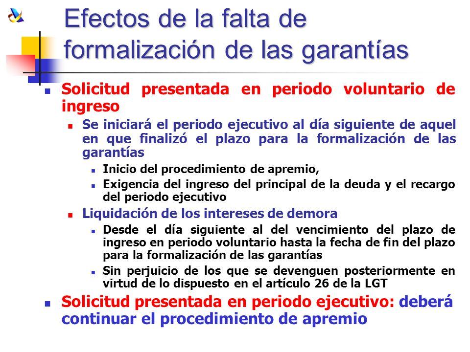 Efectos de la falta de formalización de las garantías Solicitud presentada en periodo voluntario de ingreso Se iniciará el periodo ejecutivo al día si