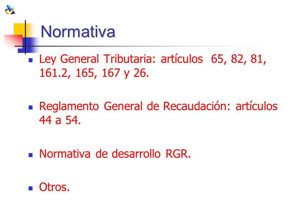 Normativa Ley General Tributaria: artículos 65, 82, 81, 161.2, 165, 167 y 26. Reglamento General de Recaudación: artículos 44 a 54. Normativa de desar