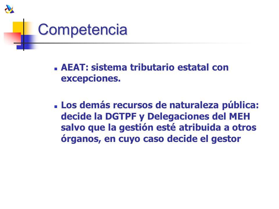 Competencia AEAT: sistema tributario estatal con excepciones. Los demás recursos de naturaleza pública: decide la DGTPF y Delegaciones del MEH salvo q
