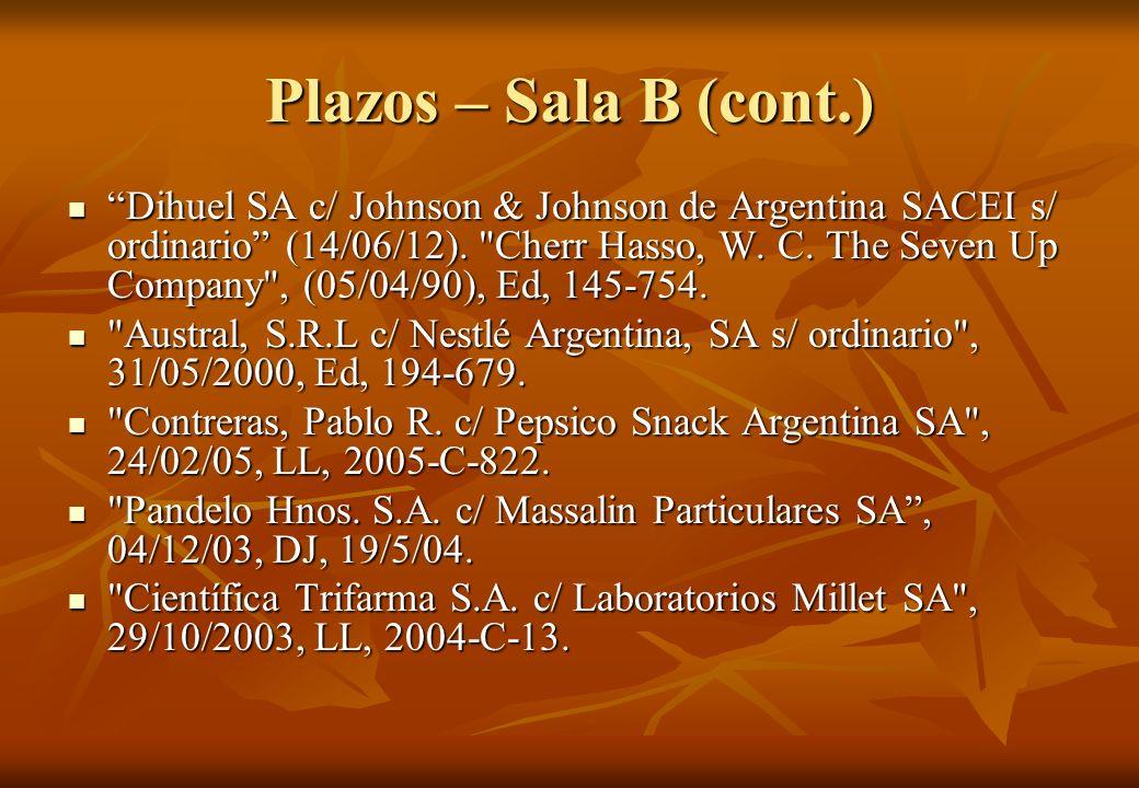 Plazos – Sala B (cont.) Dihuel SA c/ Johnson & Johnson de Argentina SACEI s/ ordinario (14/06/12).