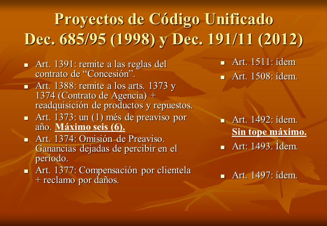 Proyectos de Código Unificado Dec. 685/95 (1998) y Dec. 191/11 (2012) Art. 1391: remite a las reglas del contrato de Concesión. Art. 1391: remite a la