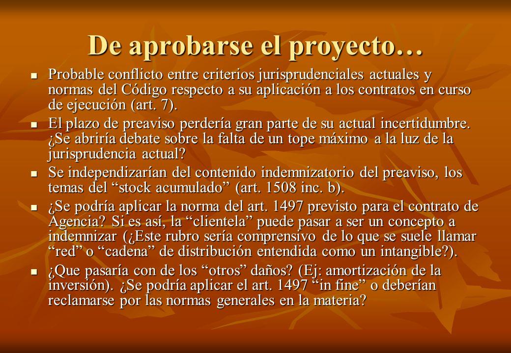 De aprobarse el proyecto… Probable conflicto entre criterios jurisprudenciales actuales y normas del Código respecto a su aplicación a los contratos e