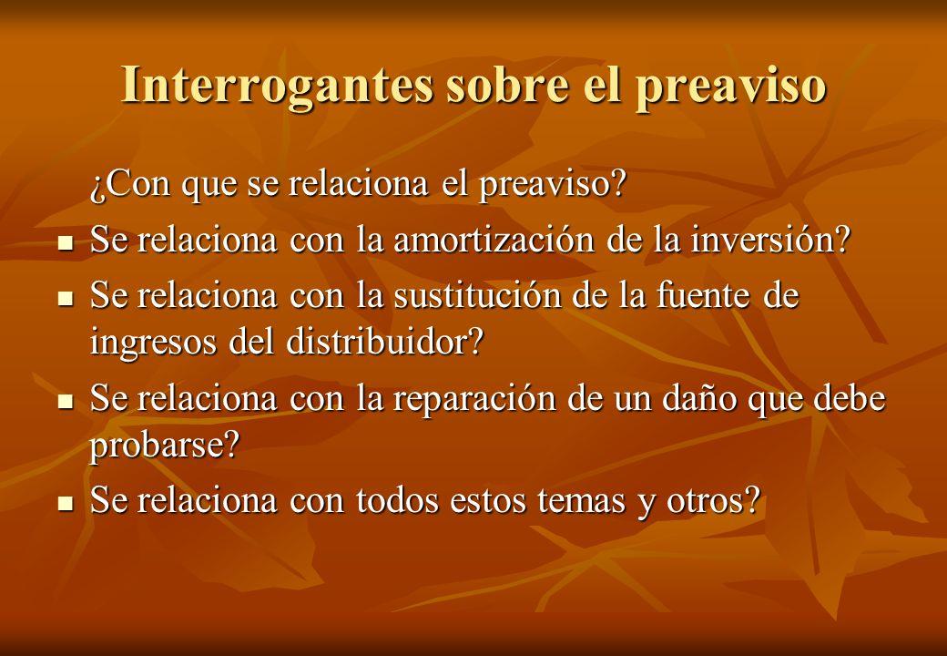 Interrogantes sobre el preaviso ¿Con que se relaciona el preaviso? Se relaciona con la amortización de la inversión? Se relaciona con la amortización