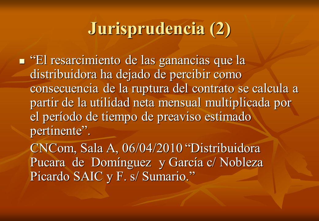 Jurisprudencia (2) El resarcimiento de las ganancias que la distribuidora ha dejado de percibir como consecuencia de la ruptura del contrato se calcul