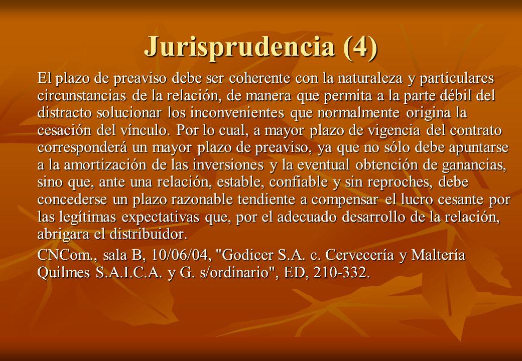 Jurisprudencia (4) El plazo de preaviso debe ser coherente con la naturaleza y particulares circunstancias de la relación, de manera que permita a la