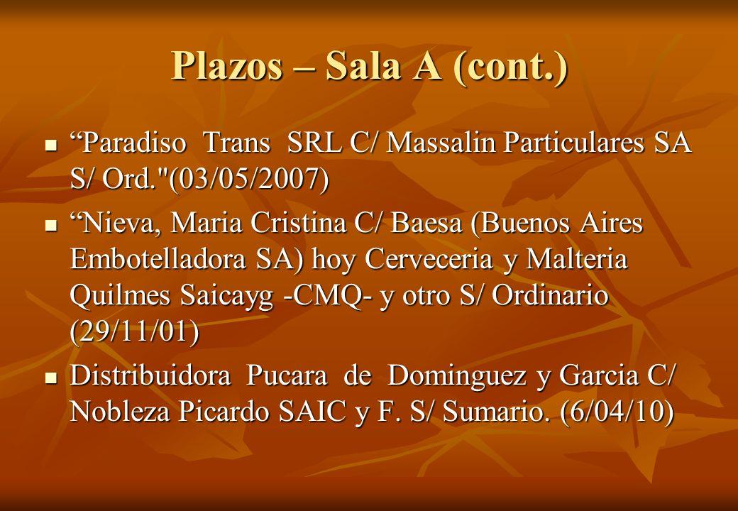 Plazos – Sala A (cont.) Paradiso Trans SRL C/ Massalin Particulares SA S/ Ord.