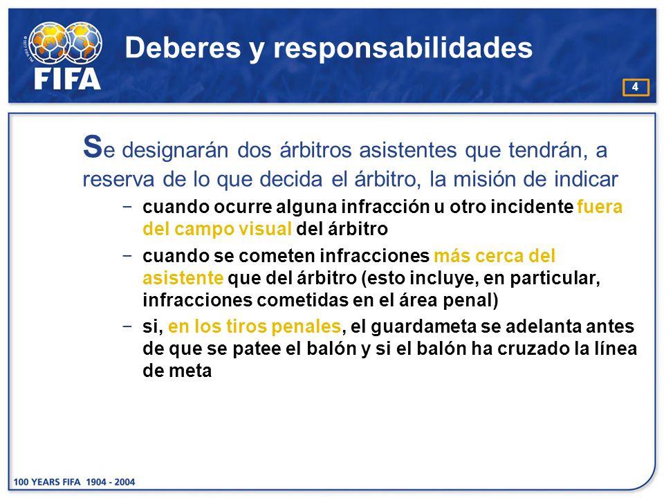 5 Deberes y responsabilidades L os árbitros asistentes ayudan al árbitro a dirigir el partido conforme a las Reglas de Juego.