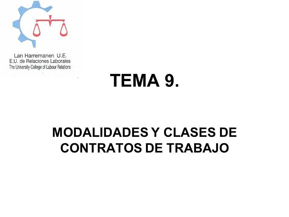 TEMA 9. MODALIDADES Y CLASES DE CONTRATOS DE TRABAJO