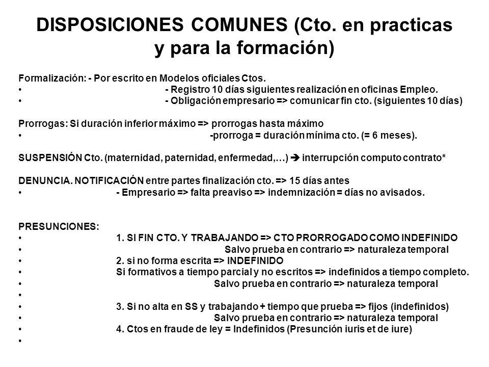 DISPOSICIONES COMUNES (Cto. en practicas y para la formación) Formalización: - Por escrito en Modelos oficiales Ctos. - Registro 10 días siguientes re