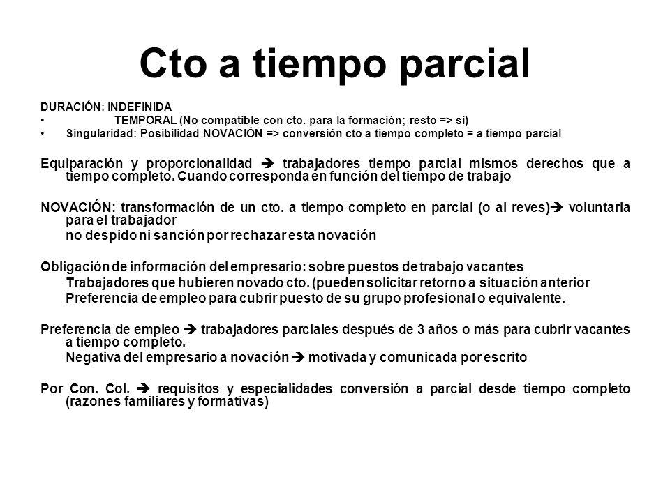Cto a tiempo parcial DURACIÓN: INDEFINIDA TEMPORAL (No compatible con cto. para la formación; resto => si) Singularidad: Posibilidad NOVACIÓN => conve