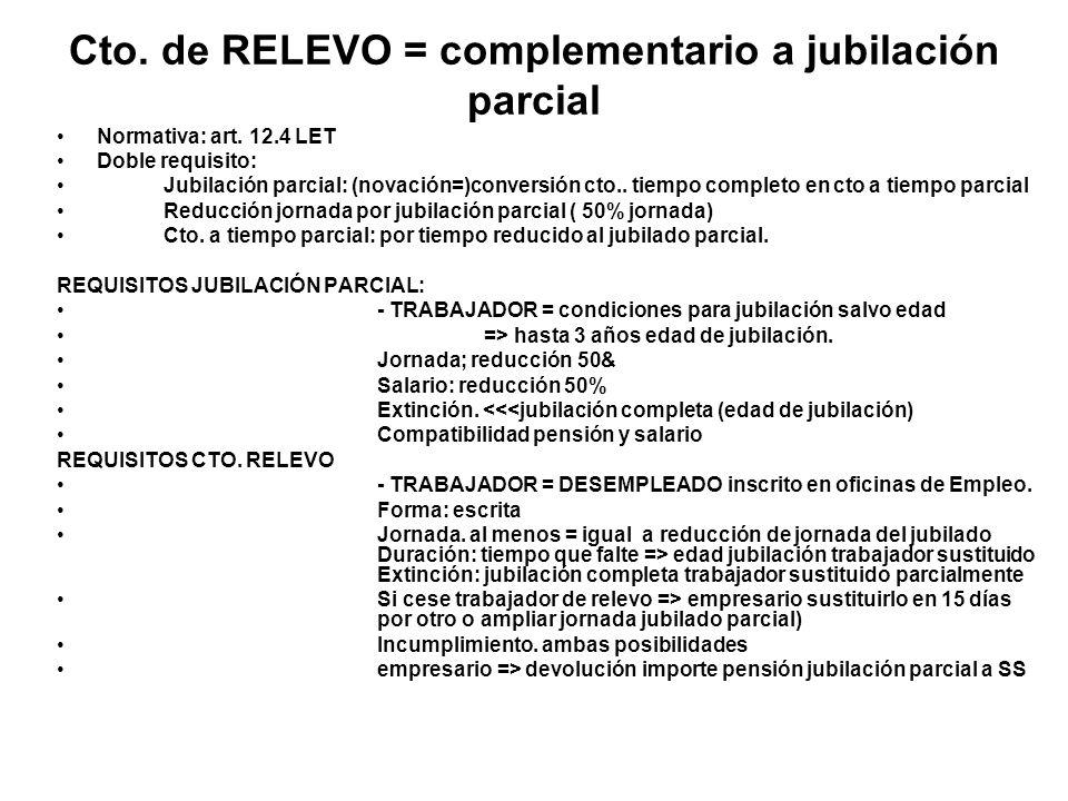 Cto. de RELEVO = complementario a jubilación parcial Normativa: art. 12.4 LET Doble requisito: Jubilación parcial: (novación=)conversión cto.. tiempo