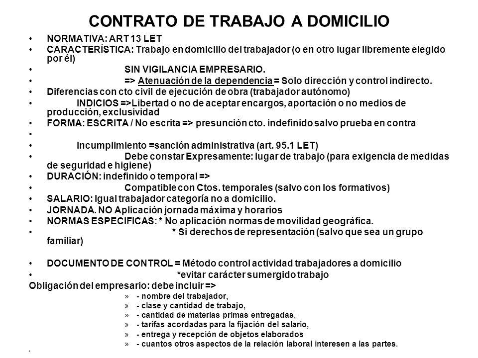 CONTRATO DE TRABAJO A DOMICILIO NORMATIVA: ART 13 LET CARACTERÍSTICA: Trabajo en domicilio del trabajador (o en otro lugar libremente elegido por él)