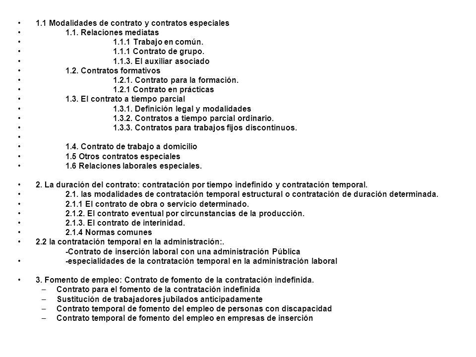 1.1 Modalidades de contrato y contratos especiales 1.1. Relaciones mediatas 1.1.1 Trabajo en común. 1.1.1 Contrato de grupo. 1.1.3. El auxiliar asocia