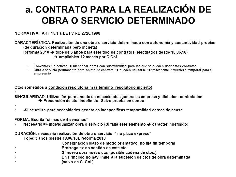 a. CONTRATO PARA LA REALIZACIÓN DE OBRA O SERVICIO DETERMINADO NORMATIVA.: ART 15.1.a LET y RD 2720/1998 CARACTERÍSTICA: Realización de una obra o ser