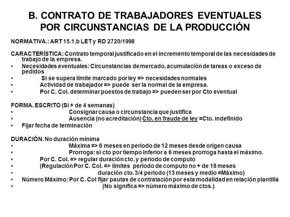 B. CONTRATO DE TRABAJADORES EVENTUALES POR CIRCUNSTANCIAS DE LA PRODUCCIÓN NORMATIVA.: ART 15.1.b LET y RD 2720/1998 CARACTERÍSTICA: Contrato temporal