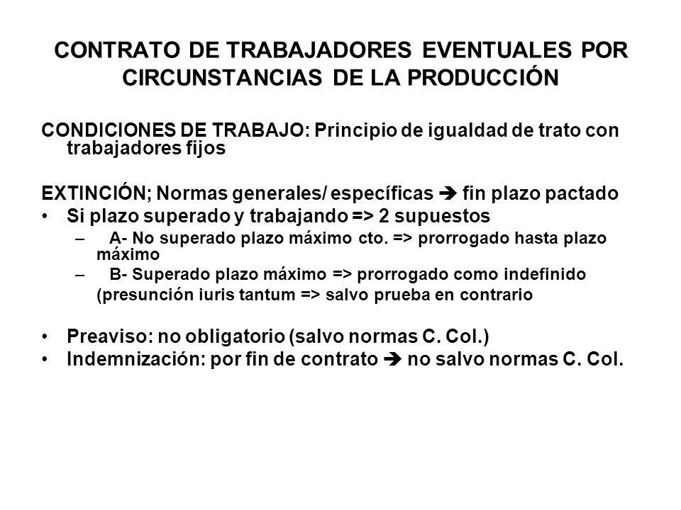 CONTRATO DE TRABAJADORES EVENTUALES POR CIRCUNSTANCIAS DE LA PRODUCCIÓN CONDICIONES DE TRABAJO: Principio de igualdad de trato con trabajadores fijos