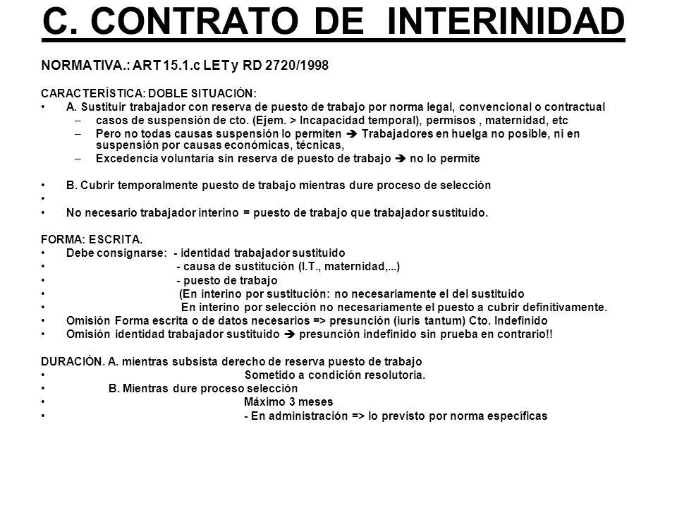 C. CONTRATO DE INTERINIDAD NORMATIVA.: ART 15.1.c LET y RD 2720/1998 CARACTERÍSTICA: DOBLE SITUACIÓN: A. Sustituir trabajador con reserva de puesto de