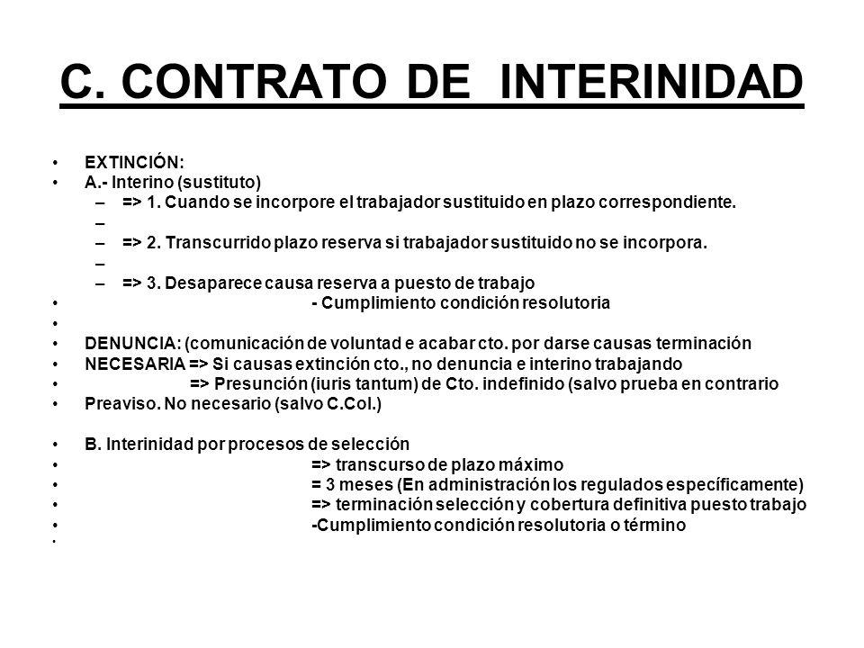 C. CONTRATO DE INTERINIDAD EXTINCIÓN: A.- Interino (sustituto) –=> 1. Cuando se incorpore el trabajador sustituido en plazo correspondiente. – –=> 2.