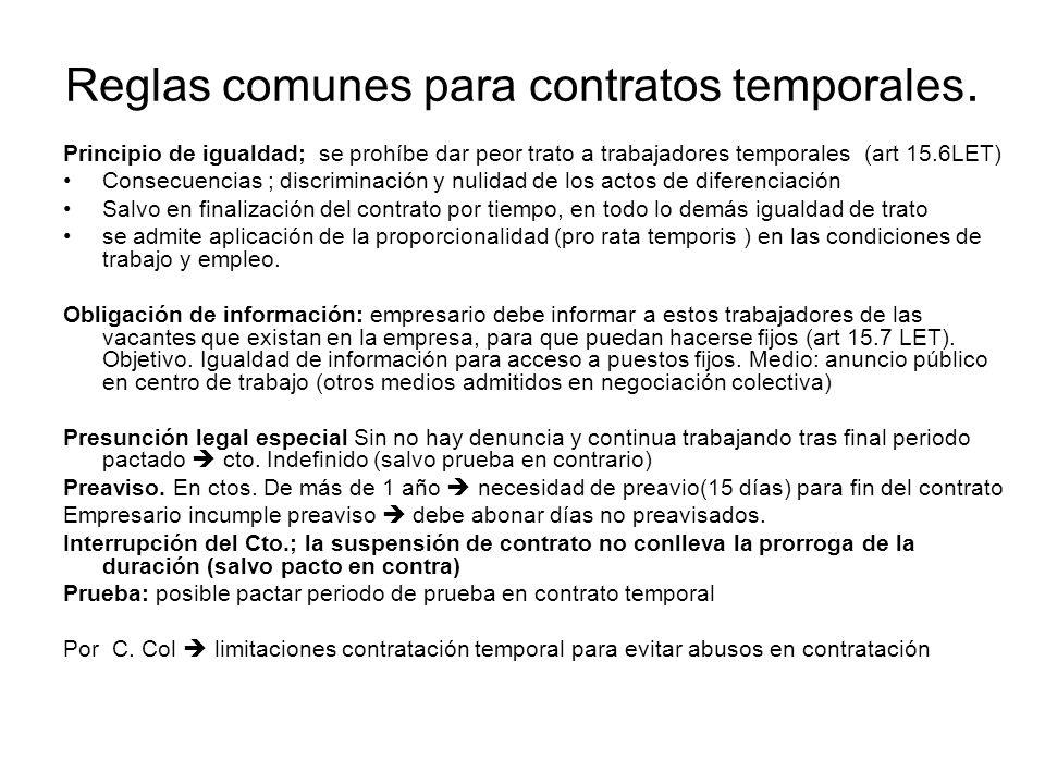Reglas comunes para contratos temporales. Principio de igualdad; se prohíbe dar peor trato a trabajadores temporales (art 15.6LET) Consecuencias ; dis