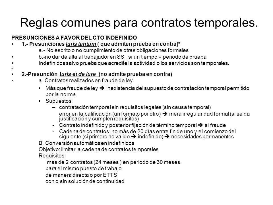 Reglas comunes para contratos temporales. PRESUNCIONES A FAVOR DEL CTO INDEFINIDO 1.- Presunciones Iuris tantum ( que admiten prueba en contra)* a.- N