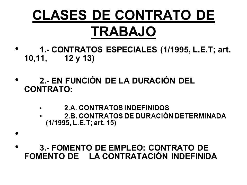 CLASES DE CONTRATO DE TRABAJO 1.- CONTRATOS ESPECIALES (1/1995, L.E.T; art. 10,11, 12 y 13) 2.- EN FUNCIÓN DE LA DURACIÓN DEL CONTRATO: 2.A. CONTRATOS