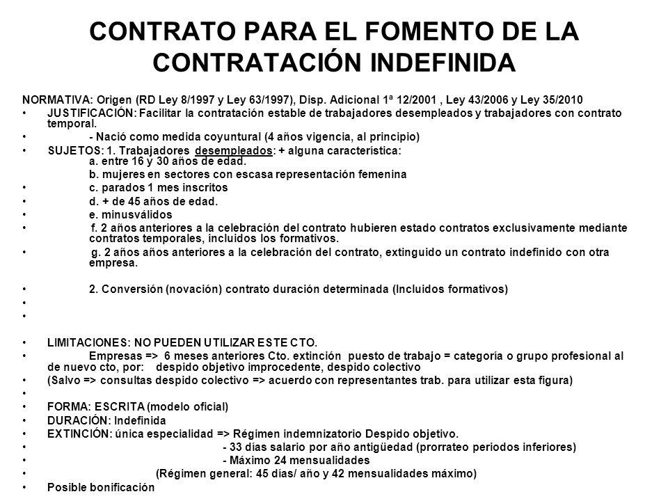 CONTRATO PARA EL FOMENTO DE LA CONTRATACIÓN INDEFINIDA NORMATIVA: Origen (RD Ley 8/1997 y Ley 63/1997), Disp. Adicional 1ª 12/2001, Ley 43/2006 y Ley