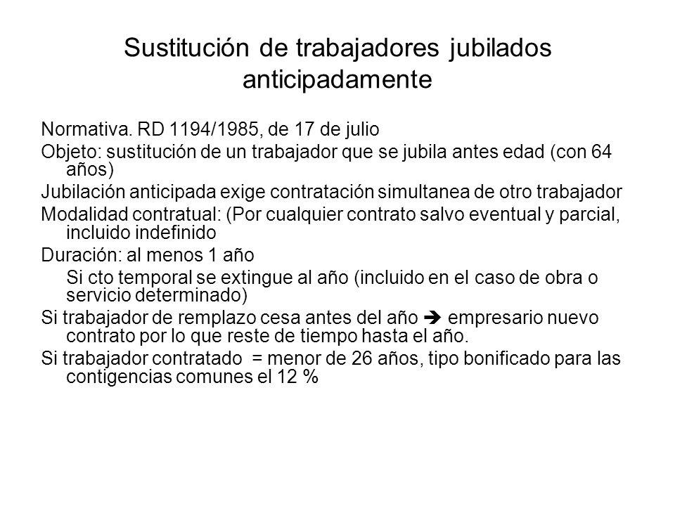 Sustitución de trabajadores jubilados anticipadamente Normativa. RD 1194/1985, de 17 de julio Objeto: sustitución de un trabajador que se jubila antes