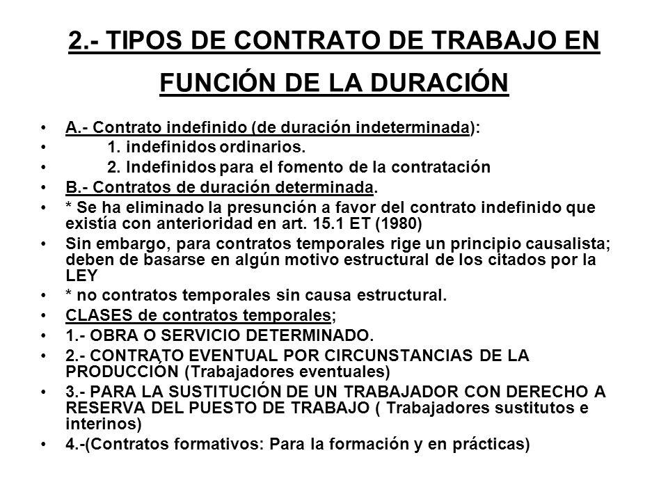 2.- TIPOS DE CONTRATO DE TRABAJO EN FUNCIÓN DE LA DURACIÓN A.- Contrato indefinido (de duración indeterminada): 1. indefinidos ordinarios. 2. Indefini