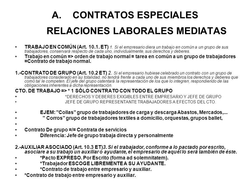 A.CONTRATOS ESPECIALES RELACIONES LABORALES MEDIATAS TRABAJO EN COMÚN (Art. 10.1. ET) 1. Si el empresario diera un trabajo en común a un grupo de sus