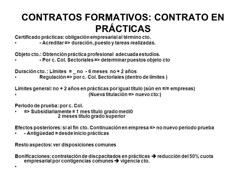 CONTRATOS FORMATIVOS: CONTRATO EN PRÁCTICAS Certificado prácticas: obligación empresarial al término cto. - Acreditar => duración, puesto y tareas rea