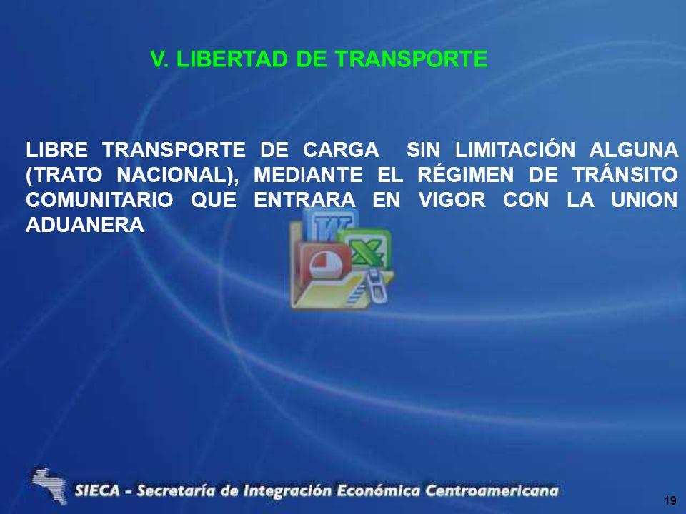 V. LIBERTAD DE TRANSPORTE LIBRE TRANSPORTE DE CARGA SIN LIMITACIÓN ALGUNA (TRATO NACIONAL), MEDIANTE EL RÉGIMEN DE TRÁNSITO COMUNITARIO QUE ENTRARA EN