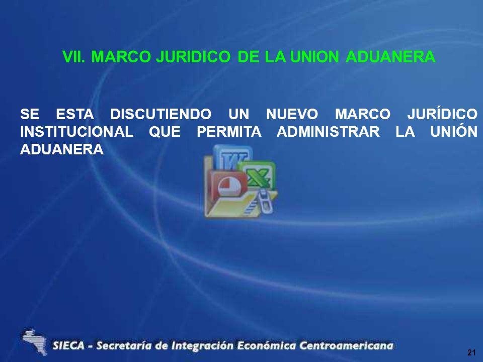 VII. MARCO JURIDICO DE LA UNION ADUANERA SE ESTA DISCUTIENDO UN NUEVO MARCO JURÍDICO INSTITUCIONAL QUE PERMITA ADMINISTRAR LA UNIÓN ADUANERA 21