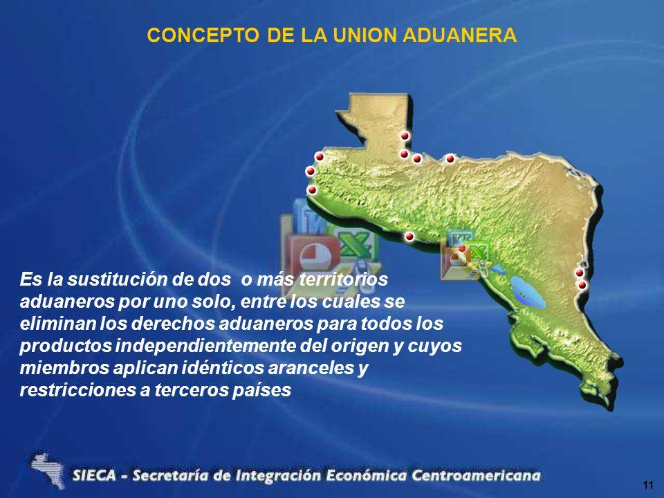 CONCEPTO DE LA UNION ADUANERA Es la sustitución de dos o más territorios aduaneros por uno solo, entre los cuales se eliminan los derechos aduaneros p