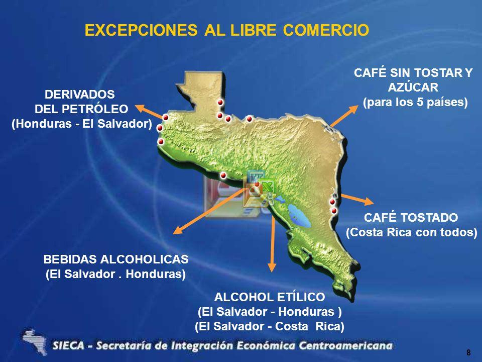 EXCEPCIONES AL LIBRE COMERCIO CAFÉ SIN TOSTAR Y AZÚCAR (para los 5 países) DERIVADOS DEL PETRÓLEO (Honduras - El Salvador) BEBIDAS ALCOHOLICAS (El Sal