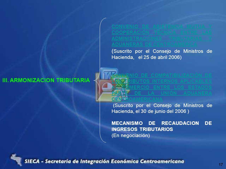 III. ARMONIZACION TRIBUTARIA CONVENIO DE ASISTENCIA MUTUA Y COOPERACIÓN TÉCNICA ENTRE LAS ADMINISTRACIONES TRIBUTARIAS Y ADUANERAS DE CENTROAMERICA (