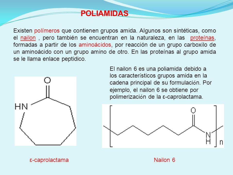 POLIAMIDAS Existen polímeros que contienen grupos amida. Algunos son sintéticas, como el nailon, pero también se encuentran en la naturaleza, en las p
