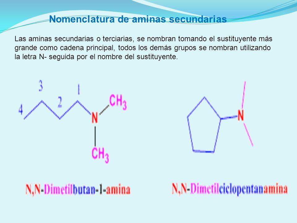 Las aminas secundarias o terciarias, se nombran tomando el sustituyente más grande como cadena principal, todos los demás grupos se nombran utilizando