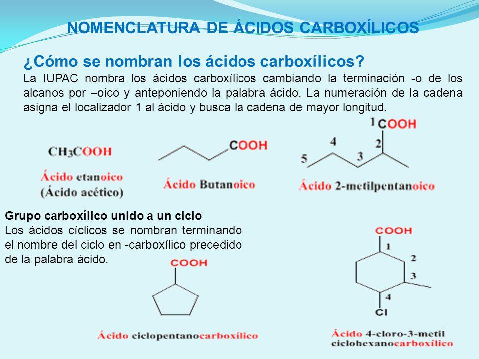 NOMENCLATURA DE ÁCIDOS CARBOXÍLICOS ¿Cómo se nombran los ácidos carboxílicos? La IUPAC nombra los ácidos carboxílicos cambiando la terminación -o de l
