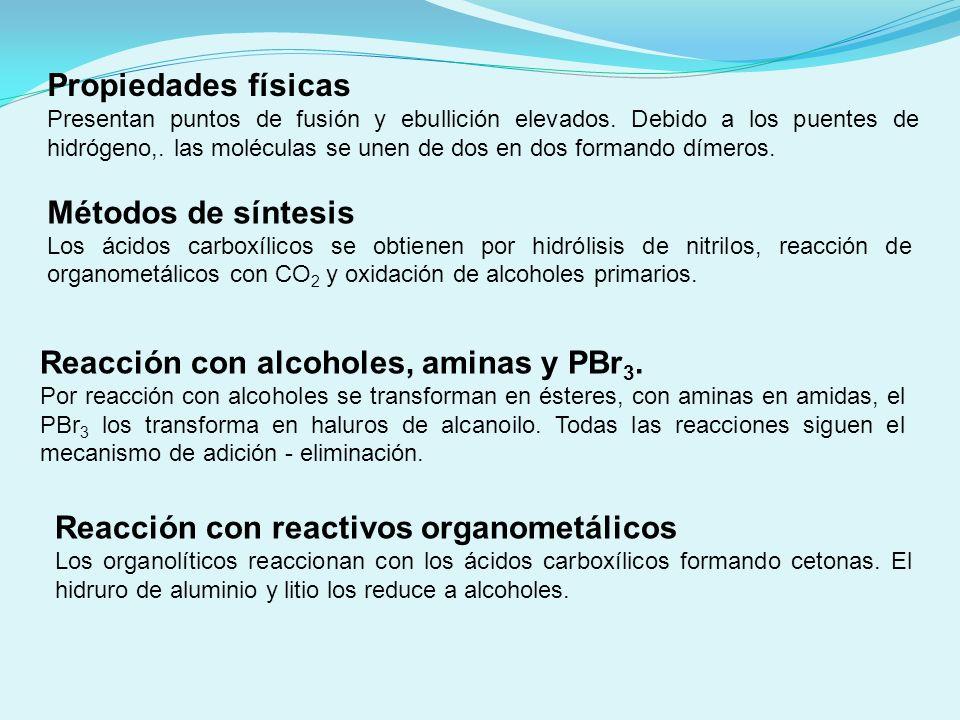 Obtención de aminas Las aminas se obtienen por reducción de nitrilos y amidas con el hidruro de litio y aluminio.