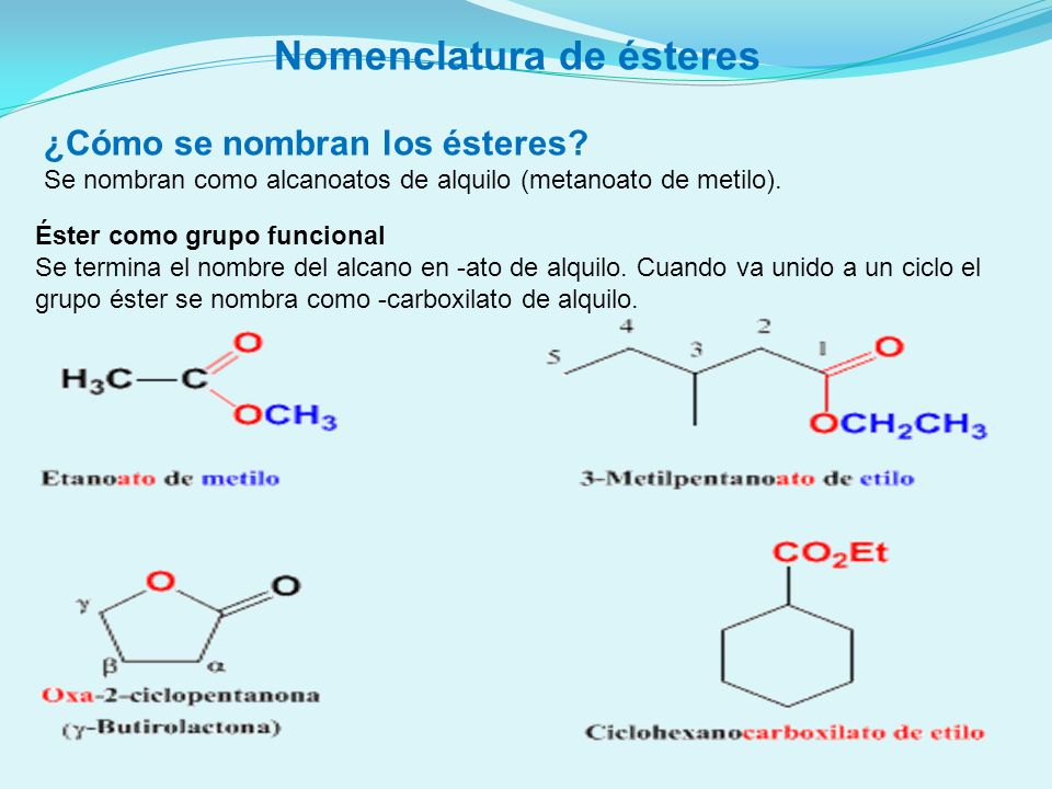 Nomenclatura de ésteres ¿Cómo se nombran los ésteres? Se nombran como alcanoatos de alquilo (metanoato de metilo). Éster como grupo funcional Se termi