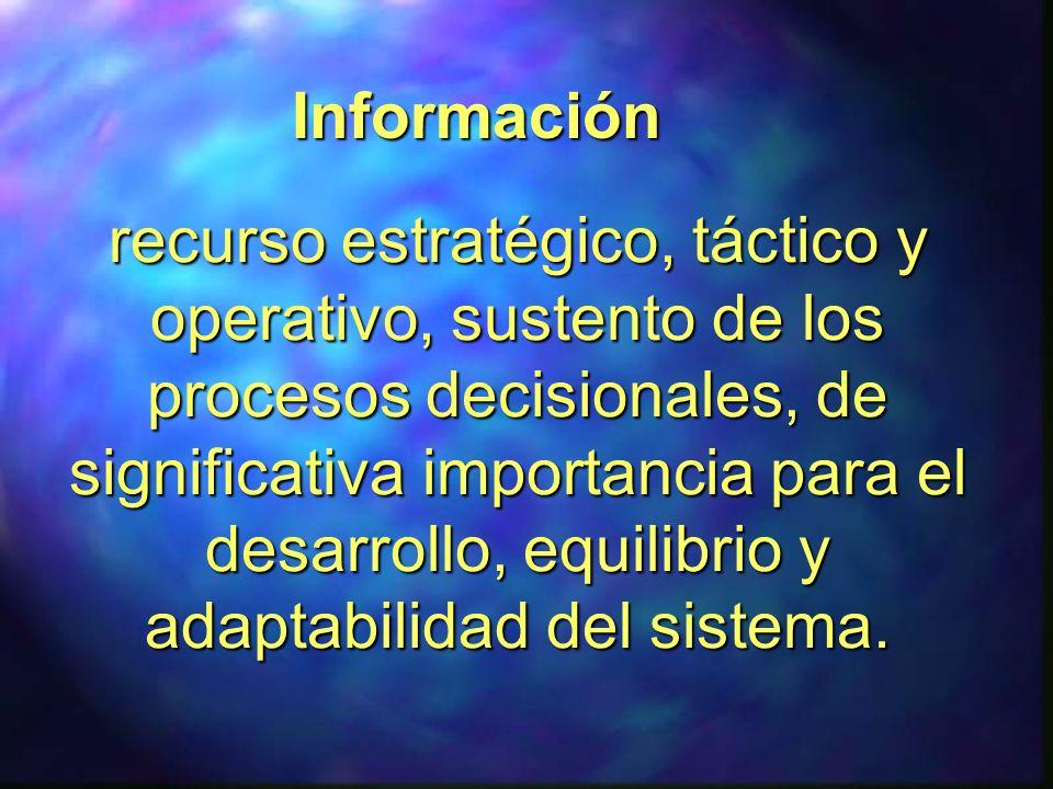 recurso estratégico, táctico y operativo, sustento de los procesos decisionales, de significativa importancia para el desarrollo, equilibrio y adaptab