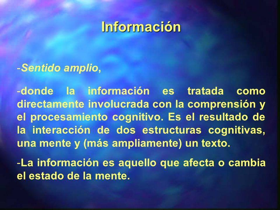 Información -Sentido amplio, -donde la información es tratada como directamente involucrada con la comprensión y el procesamiento cognitivo. Es el res
