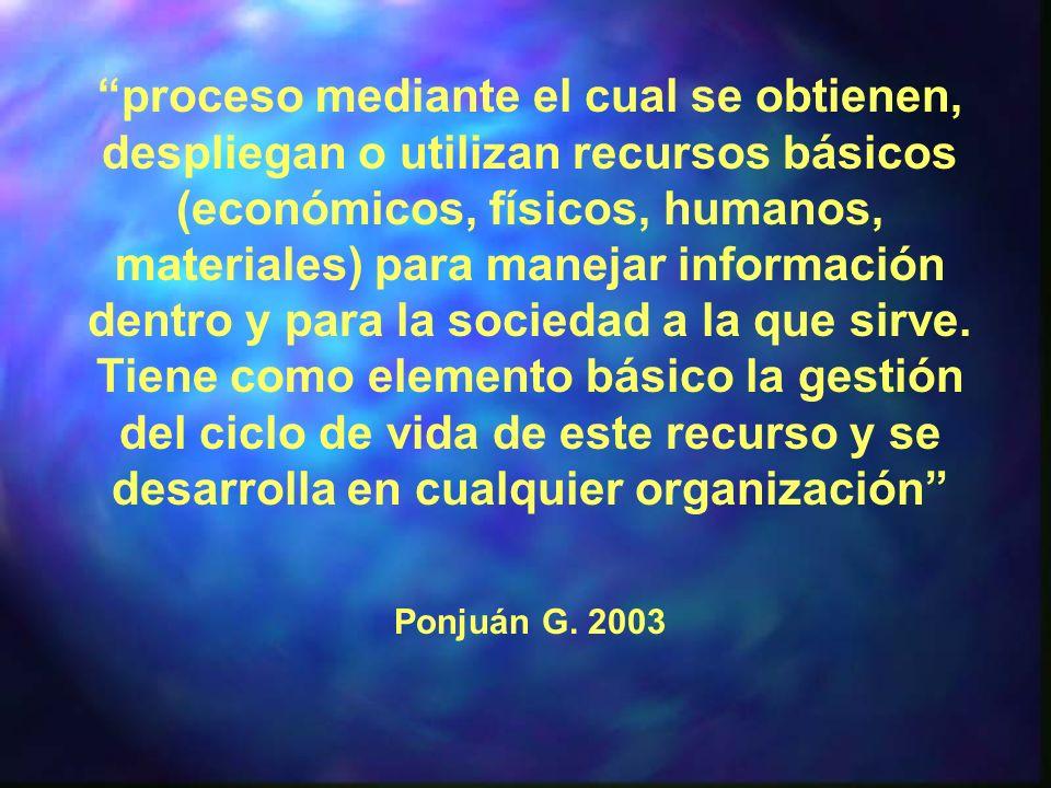 proceso mediante el cual se obtienen, despliegan o utilizan recursos básicos (económicos, físicos, humanos, materiales) para manejar información dentr