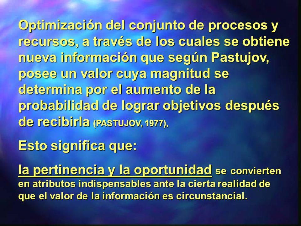 Optimización del conjunto de procesos y recursos, a través de los cuales se obtiene nueva información que según Pastujov, posee un valor cuya magnitud