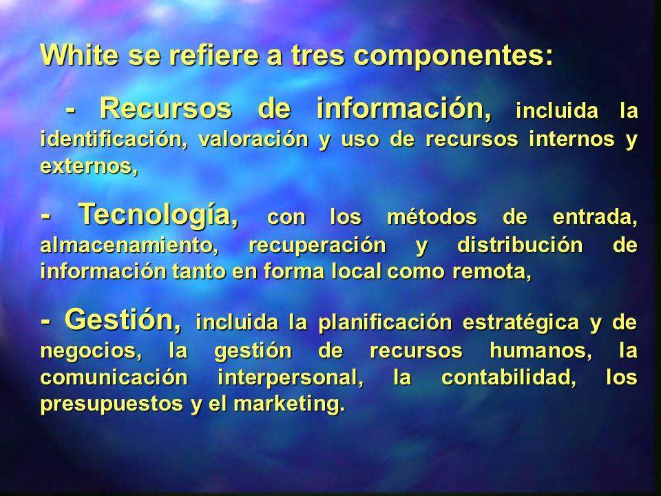 White se refiere a tres componentes: - Recursos de información, incluida la identificación, valoración y uso de recursos internos y externos, - Recurs