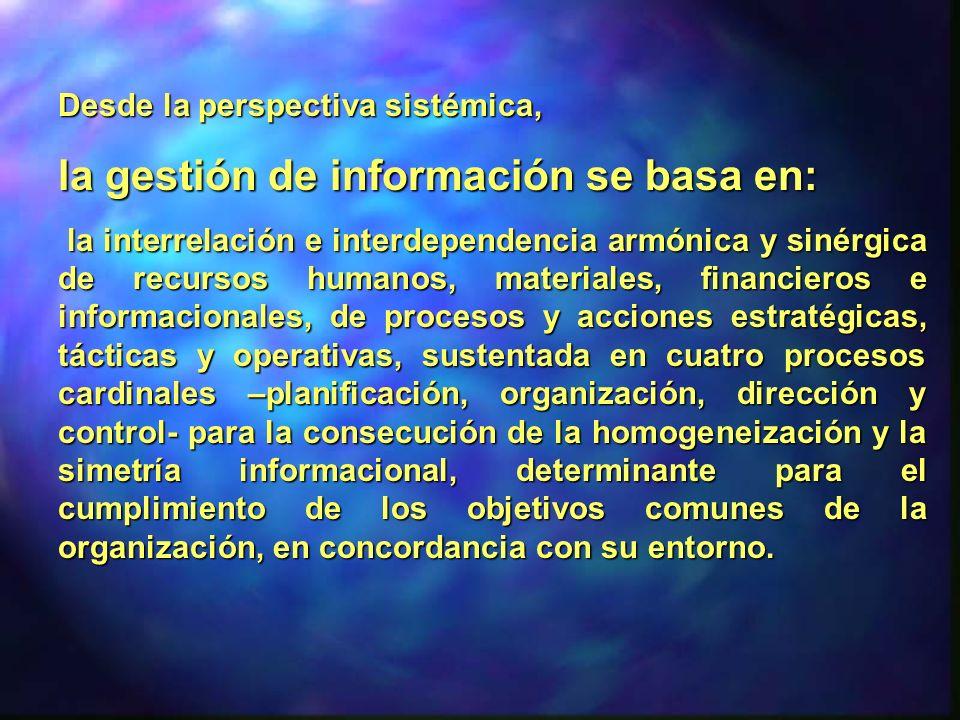 Desde la perspectiva sistémica, la gestión de información se basa en: la interrelación e interdependencia armónica y sinérgica de recursos humanos, ma