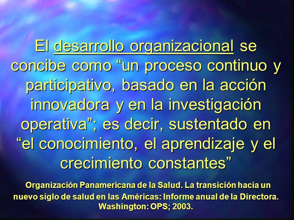 El desarrollo organizacional se concibe como un proceso continuo y participativo, basado en la acción innovadora y en la investigación operativa; es d