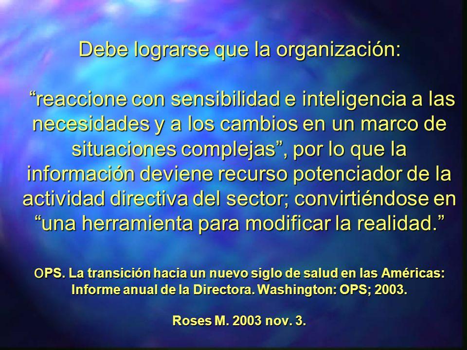 Debe lograrse que la organización: reaccione con sensibilidad e inteligencia a las necesidades y a los cambios en un marco de situaciones complejas, p