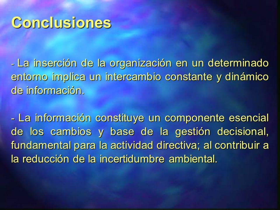 Conclusiones - La inserción de la organización en un determinado entorno implica un intercambio constante y dinámico de información. - La información